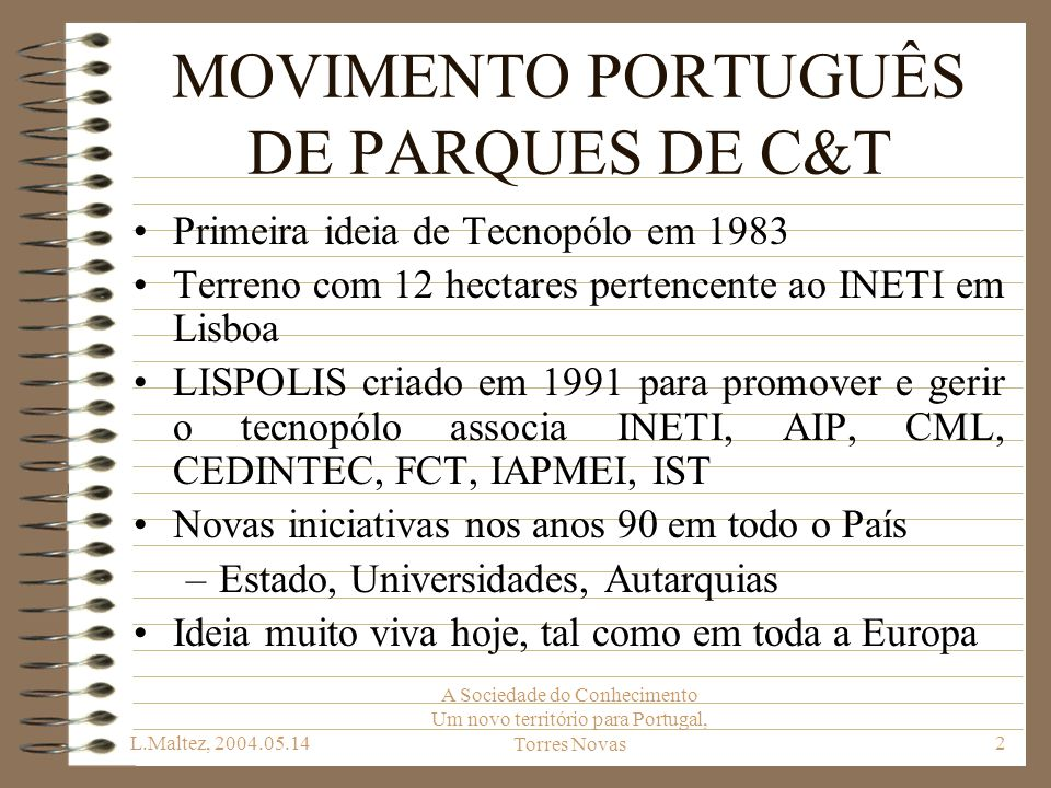 MOVIMENTO PORTUGUÊS DE PARQUES DE C&T
