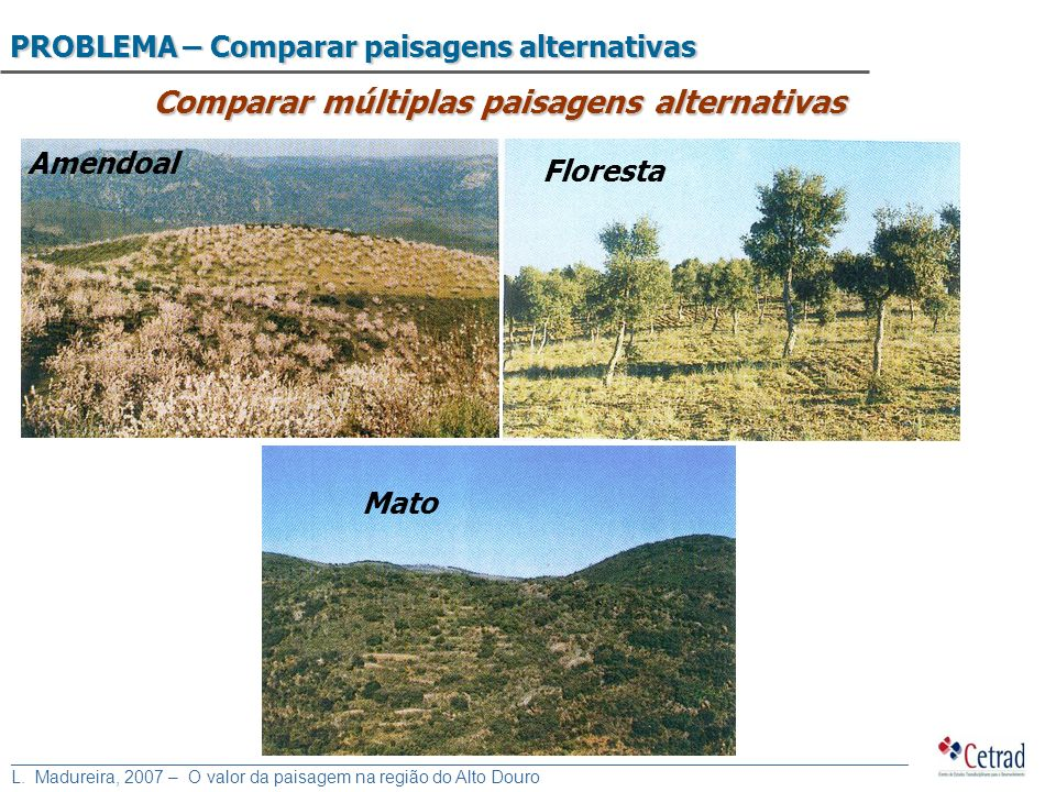 Comparar múltiplas paisagens alternativas