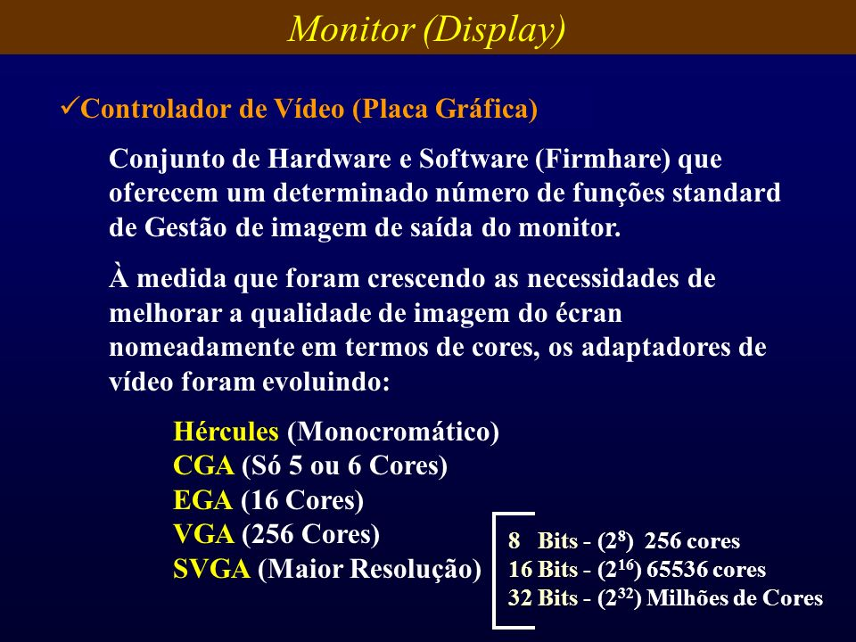 Monitor (Display) Controlador de Vídeo (Placa Gráfica)
