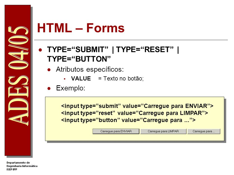 HTML – Forms TYPE= SUBMIT | TYPE= RESET | TYPE= BUTTON