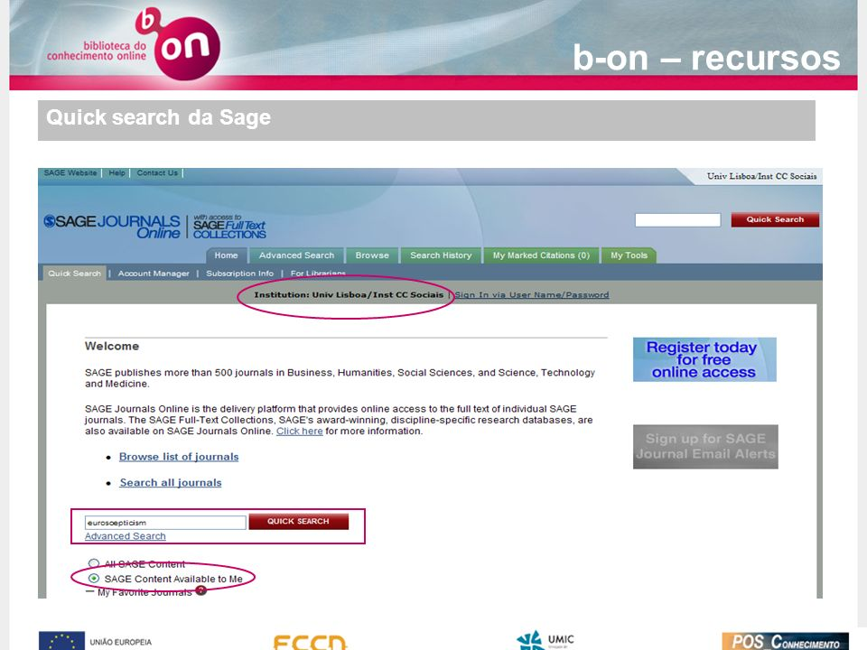 b-on – recursos Quick search da Sage