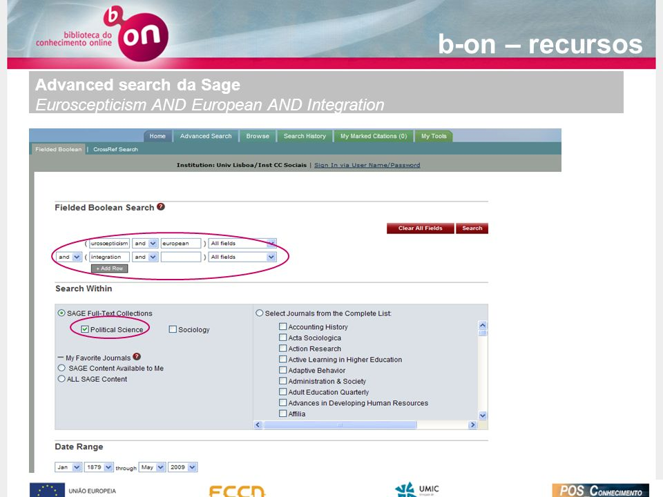 b-on – recursos Advanced search da Sage