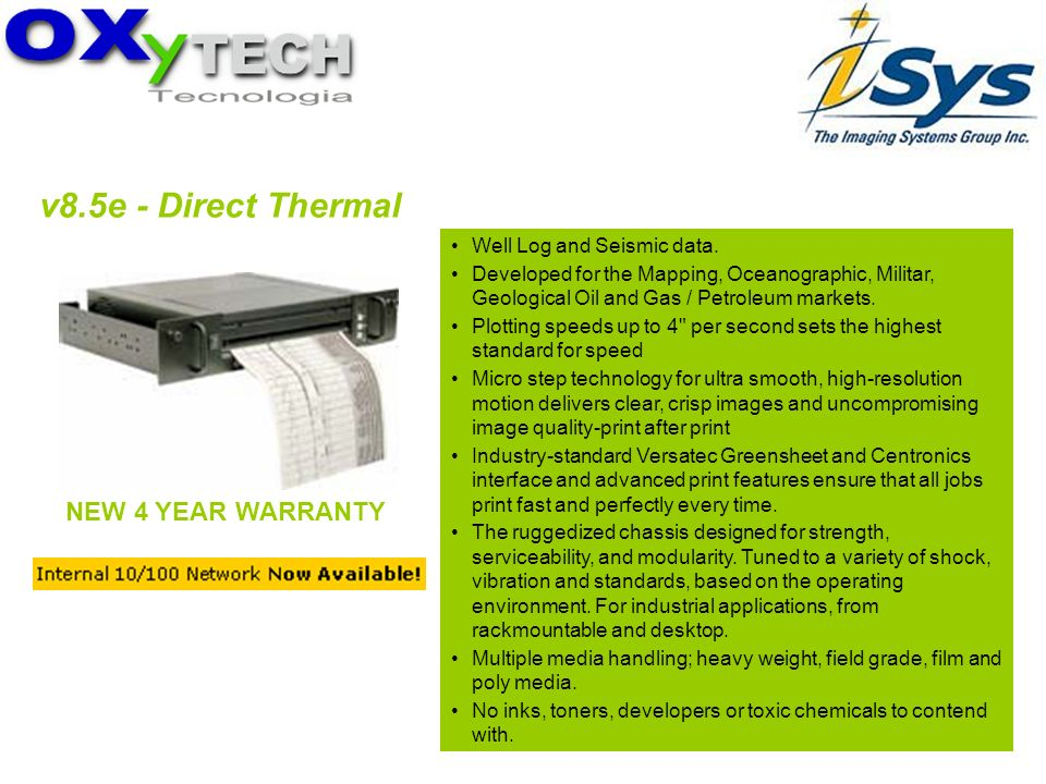 v8.5e - Direct Thermal NEW 4 YEAR WARRANTY Well Log and Seismic data.