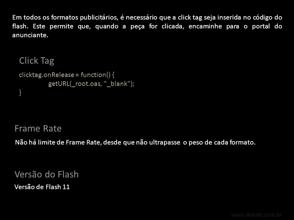 Click Tag Frame Rate Versão do Flash