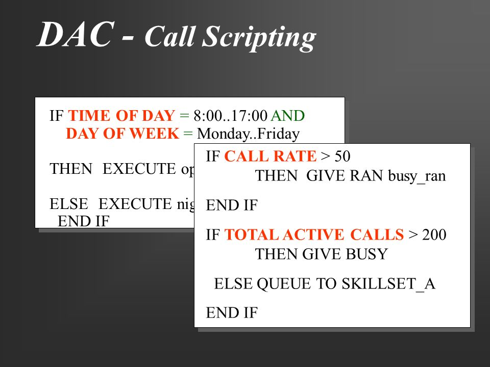 DAC - Call Scripting IF TIME OF DAY = 8:00..17:00 AND