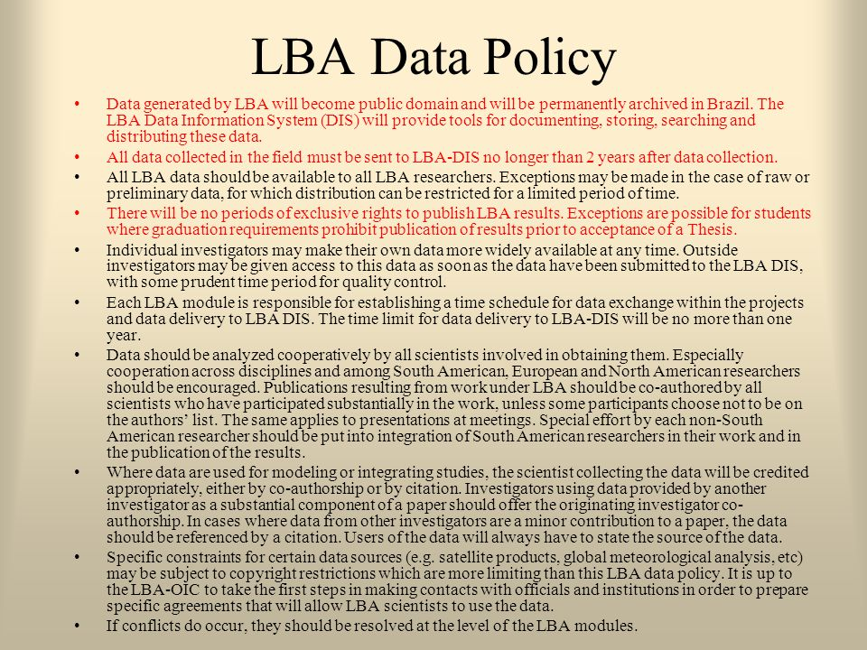 LBA Data Policy