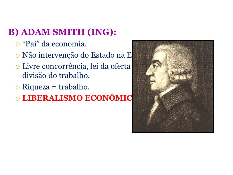 B) ADAM SMITH (ING): Pai da economia.