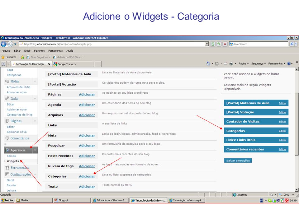 Adicione o Widgets - Categoria