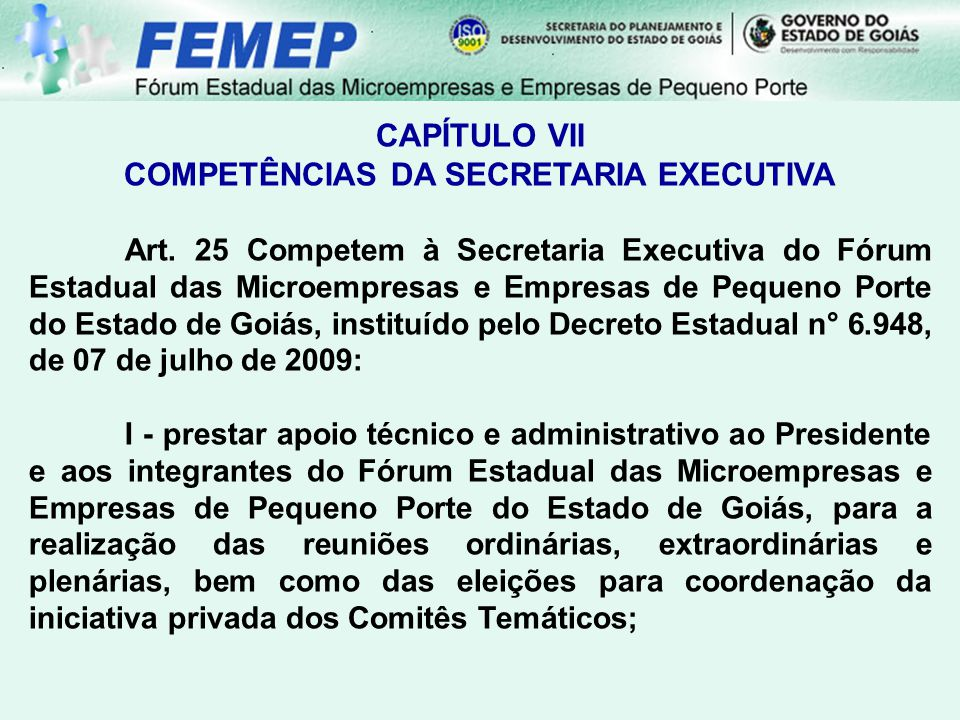 COMPETÊNCIAS DA SECRETARIA EXECUTIVA