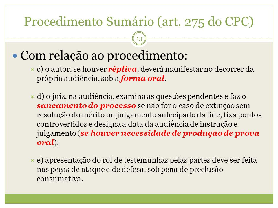 Procedimento Sumário (art. 275 do CPC)