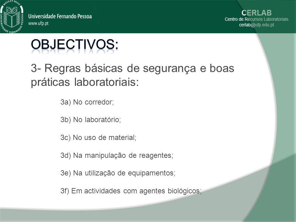 0d33565aa51e2 Objectivos  3- Regras básicas de segurança e boas práticas laboratoriais   3a) No