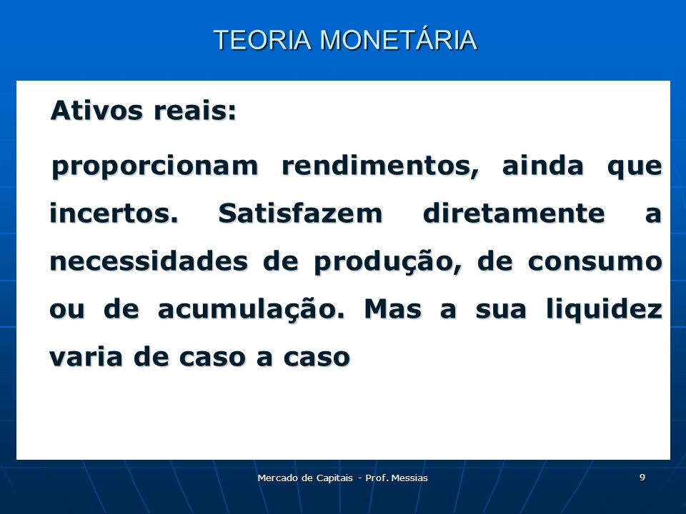 Mercado de Capitais - Prof. Messias