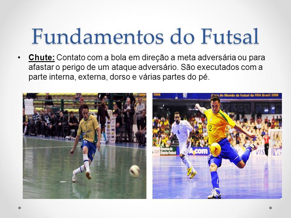 0ba36b2eed 16 Fundamentos do Futsal Chute  Contato com a bola em direção a meta  adversária ou para afastar o perigo de um ataque adversário. São executados  com a parte ...