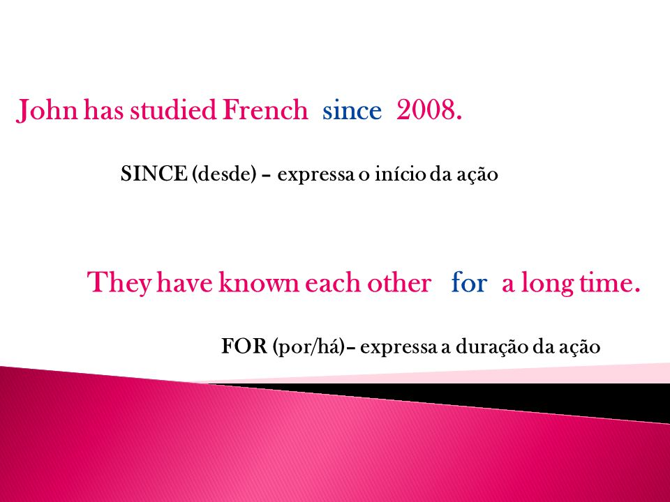 John has studied French since 2008.