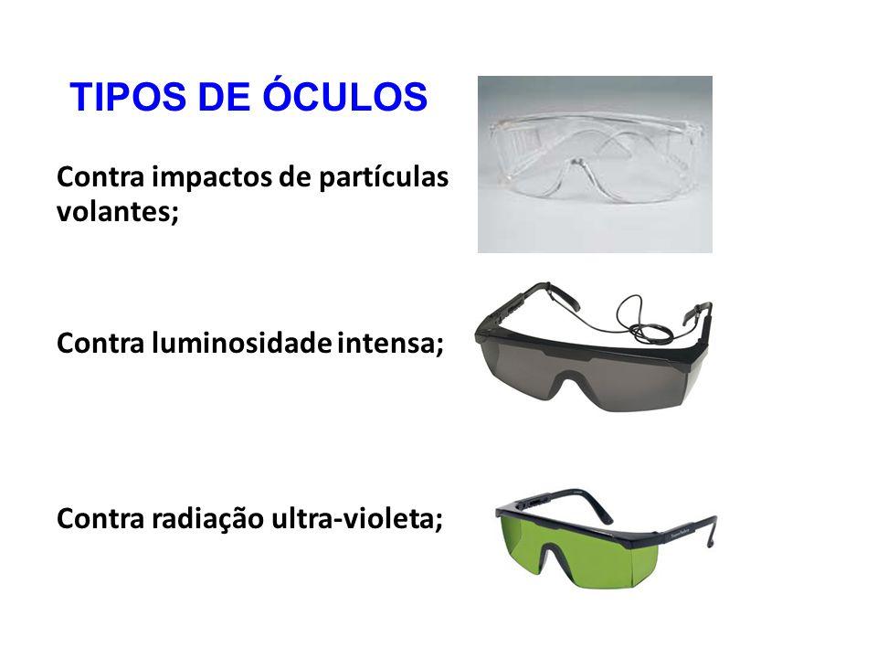 22 TIPOS DE ÓCULOS Contra impactos de partículas volantes  Contra  luminosidade intensa  Contra radiação ultra-violeta  68394743ae