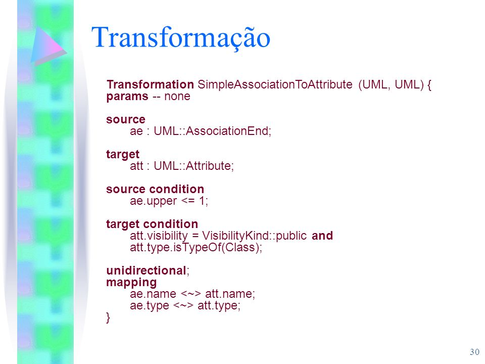 Transformação Transformation SimpleAssociationToAttribute (UML, UML) {
