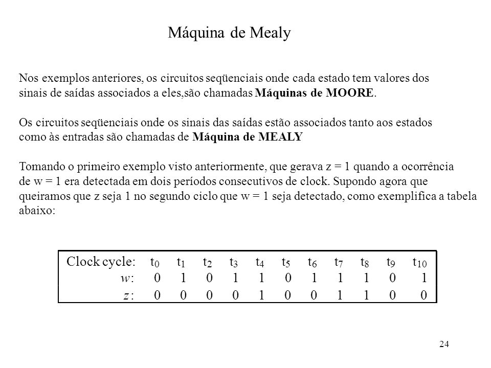 Máquina de Mealy Clock cycle: t w : z