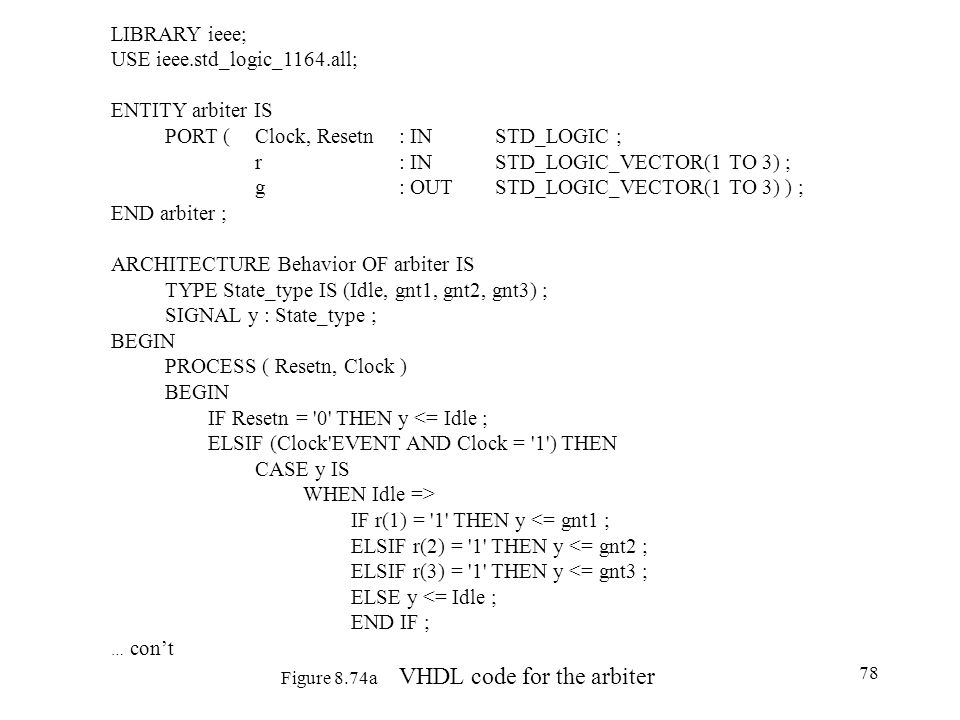 Figure 8.74a VHDL code for the arbiter