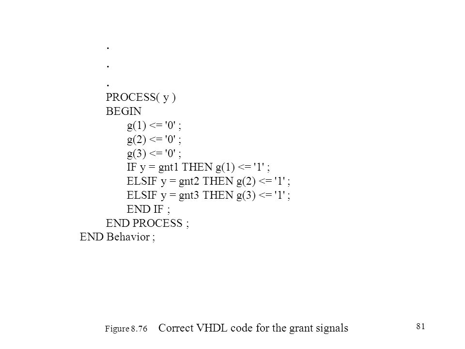 Figure 8.76 Correct VHDL code for the grant signals