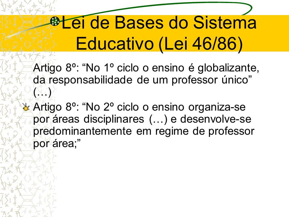 Lei de Bases do Sistema Educativo (Lei 46/86)