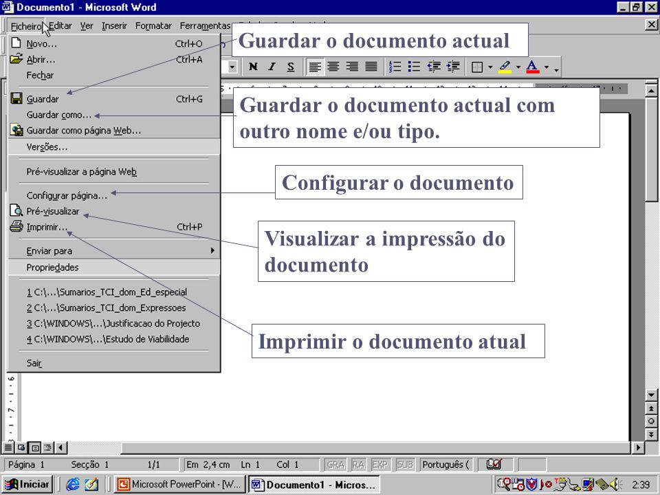 Guardar o documento actual