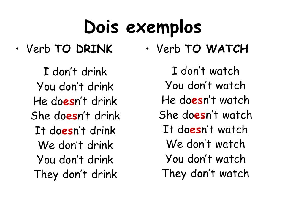 Dois exemplos Verb TO DRINK I don't drink You don't drink