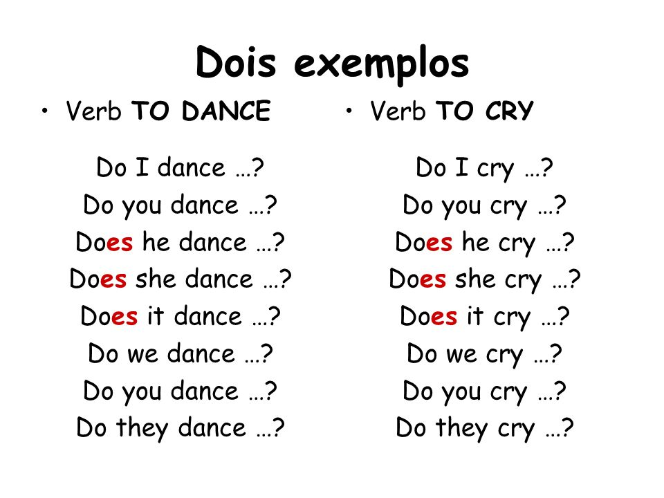 Dois exemplos Verb TO DANCE Do I dance … Do you dance …