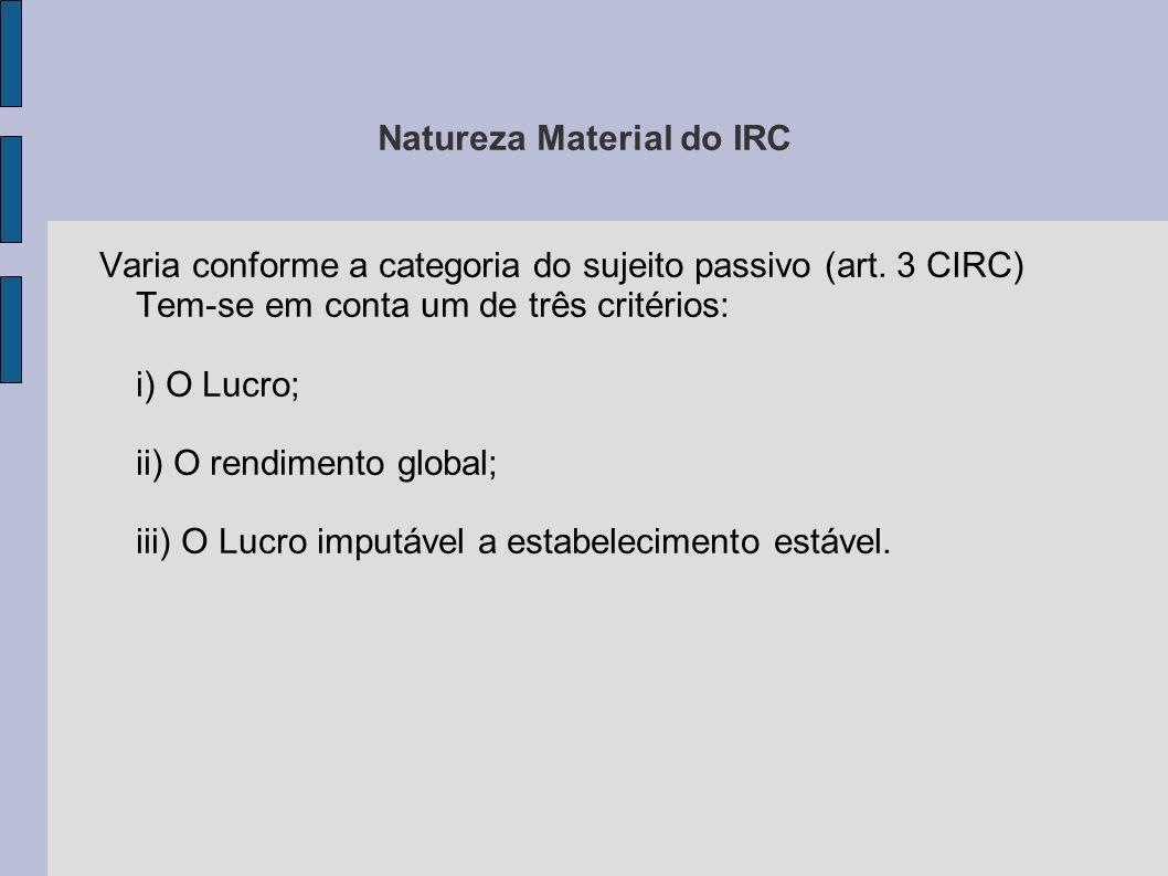 Natureza Material do IRC