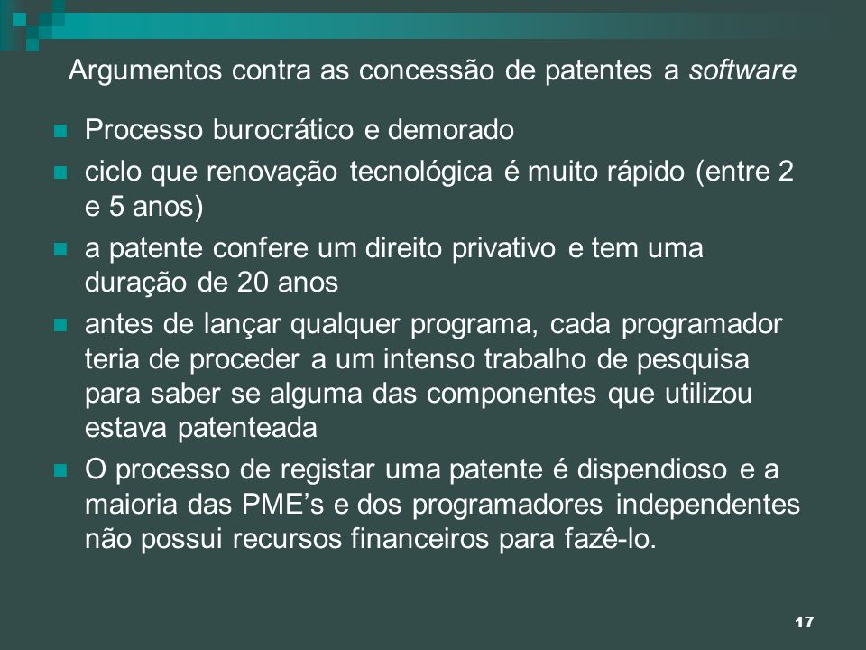 Argumentos contra as concessão de patentes a software