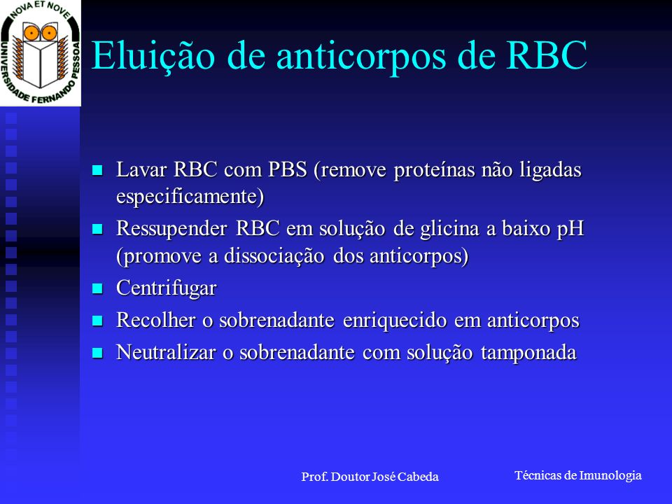 Eluição de anticorpos de RBC