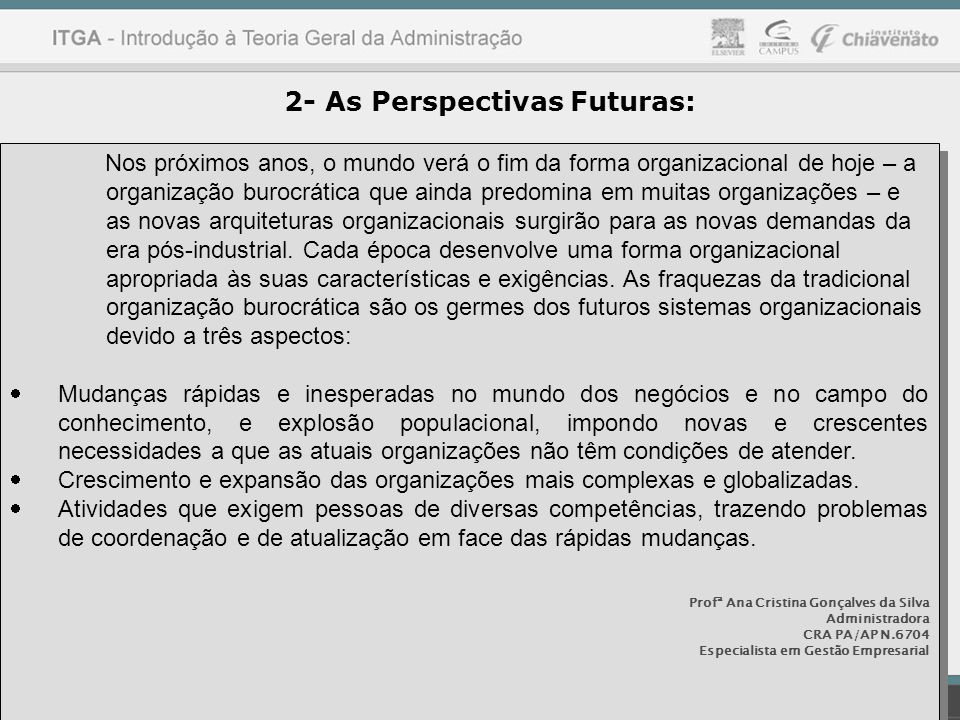 2- As Perspectivas Futuras:
