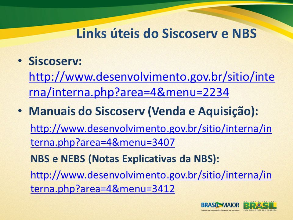 Links úteis do Siscoserv e NBS
