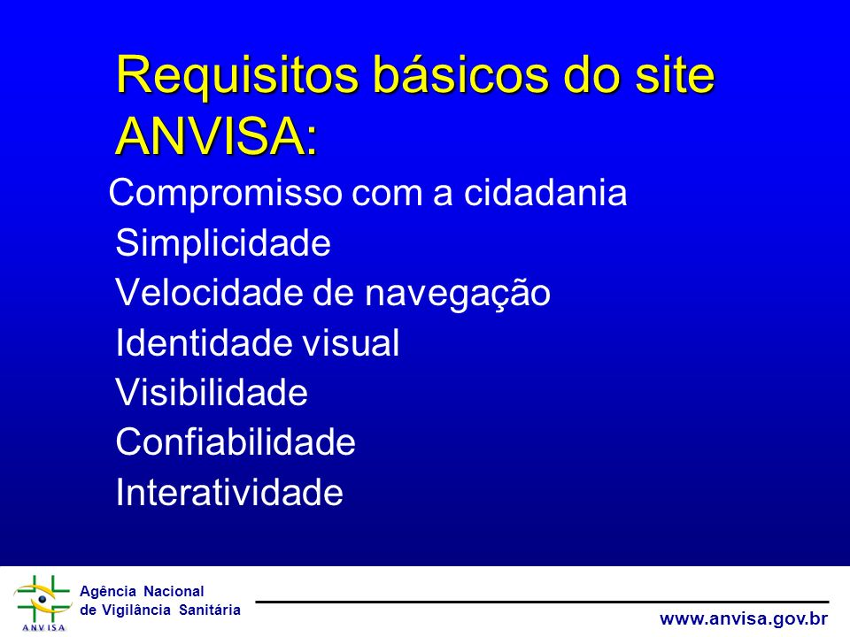 Requisitos básicos do site ANVISA: