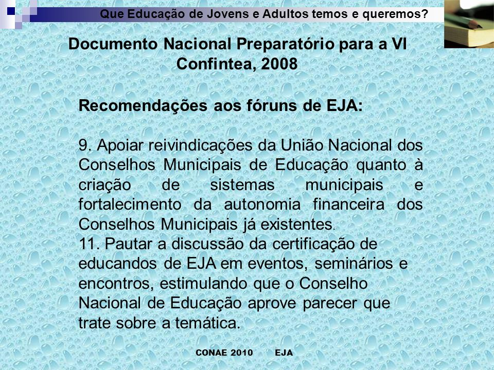 Documento Nacional Preparatório para a VI Confintea, 2008