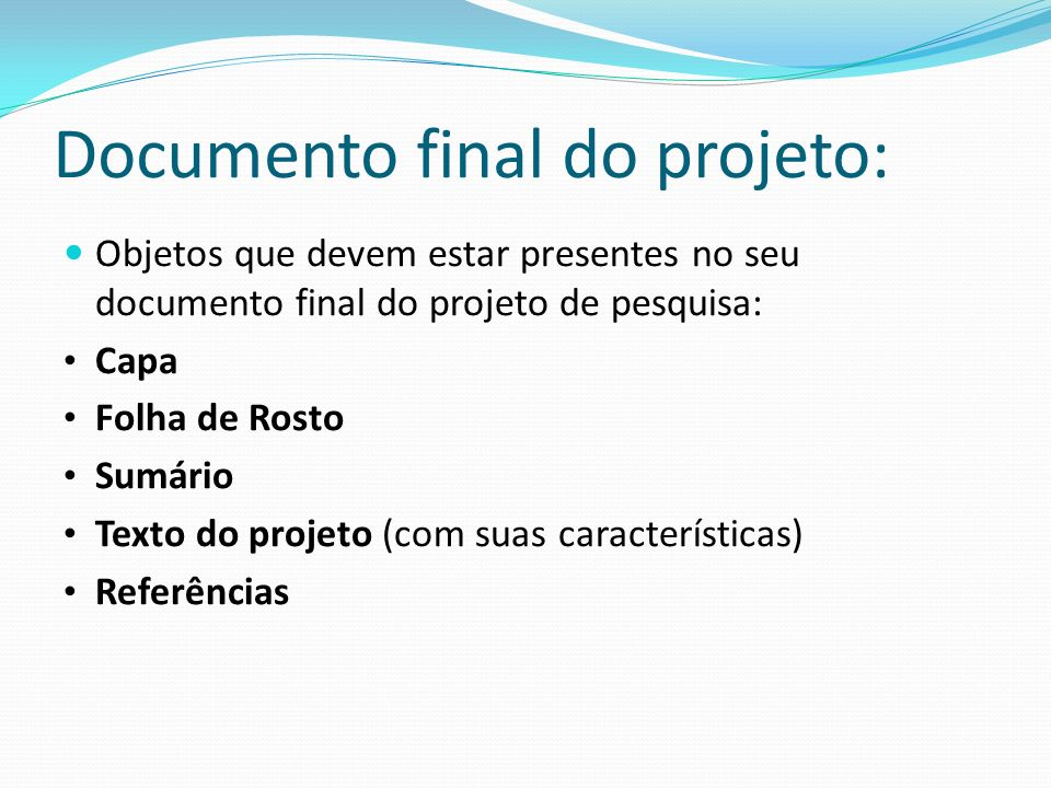 Documento final do projeto: