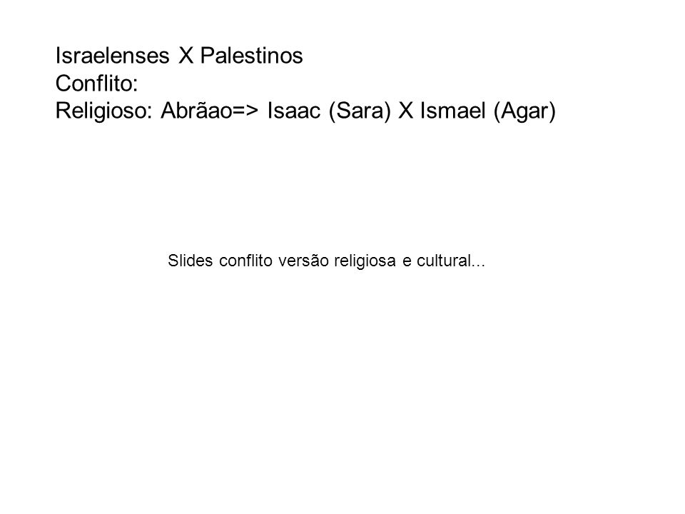 Israelenses X Palestinos Conflito: