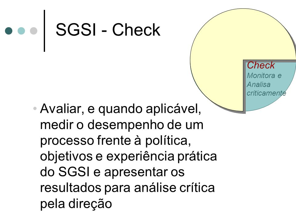 Check Monitora e. Analisa. criticamente. SGSI - Check.