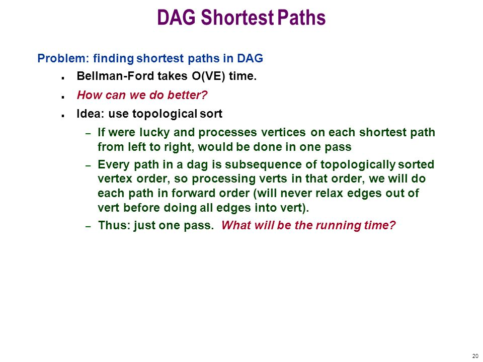 DAG Shortest Paths Problem: finding shortest paths in DAG