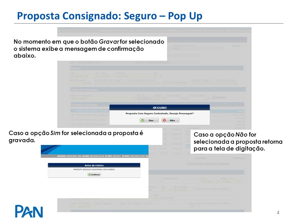 Proposta Consignado: Seguro – Pop Up