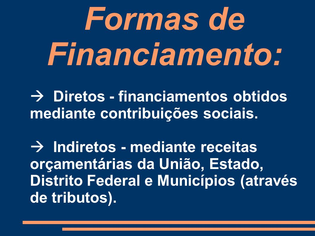 Formas de Financiamento: