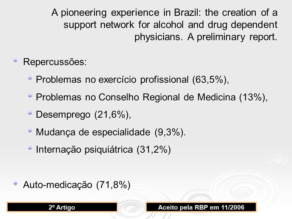 A pioneering experience in Brazil: the creation of a support network for alcohol and drug dependent physicians. A preliminary report.