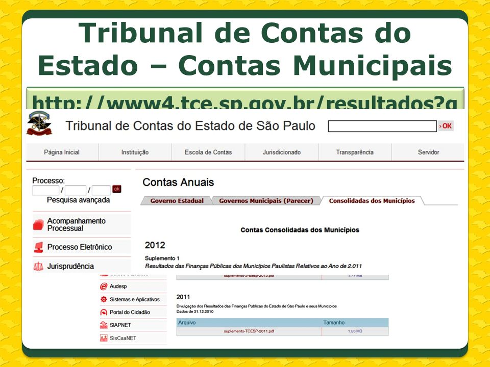 Tribunal de Contas do Estado – Contas Municipais