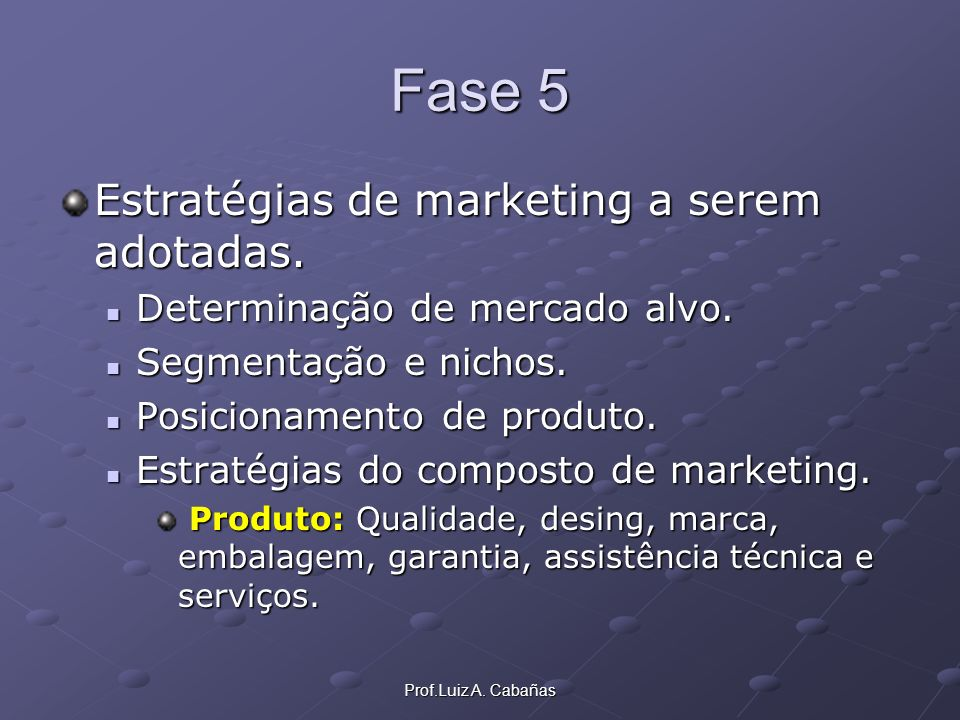 Fase 5 Estratégias de marketing a serem adotadas.