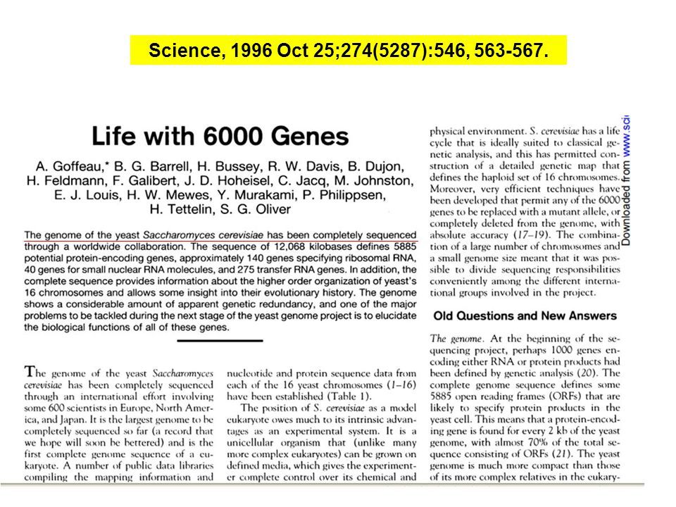 Science, 1996 Oct 25;274(5287):546, 563-567.