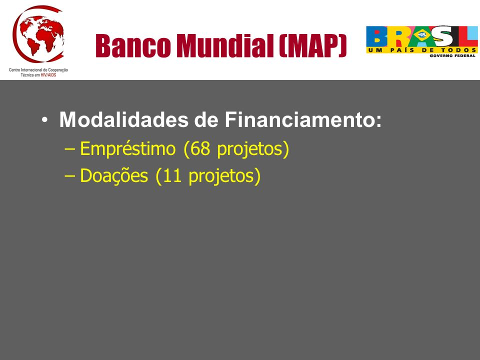 Banco Mundial (MAP) Modalidades de Financiamento: