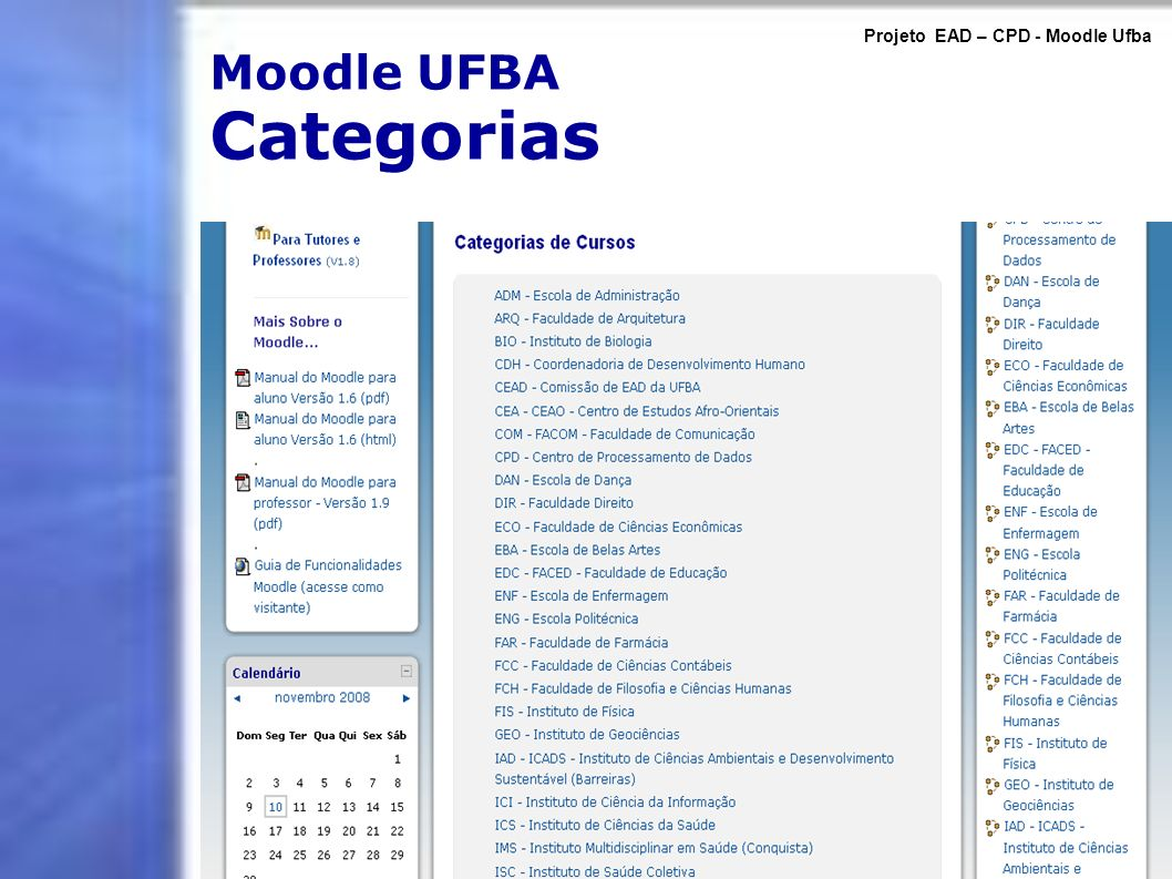 Moodle UFBA Categorias