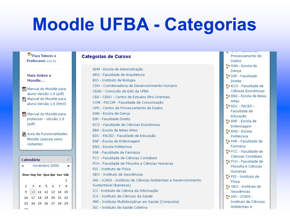 Moodle UFBA - Categorias