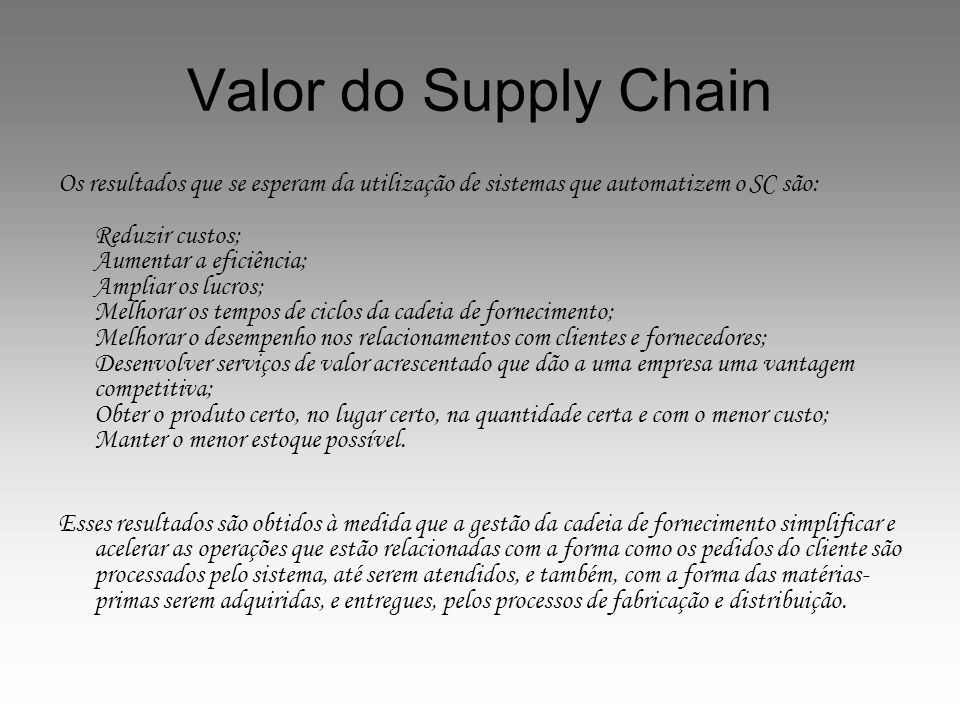 Valor do Supply Chain