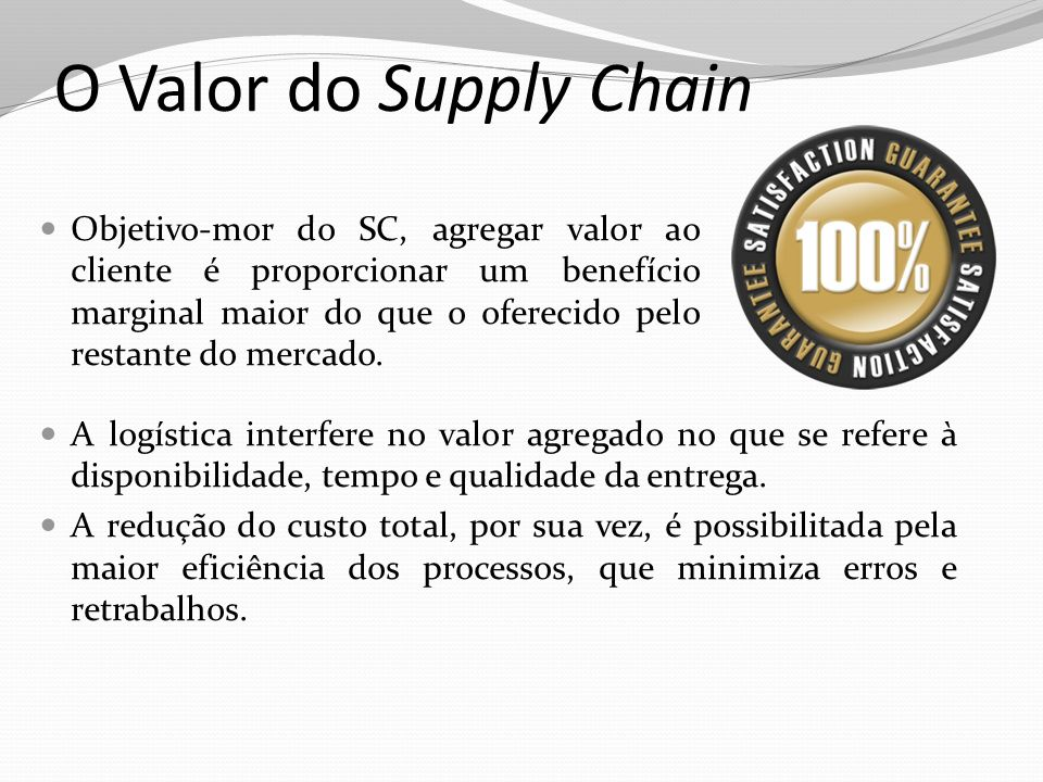 O Valor do Supply Chain