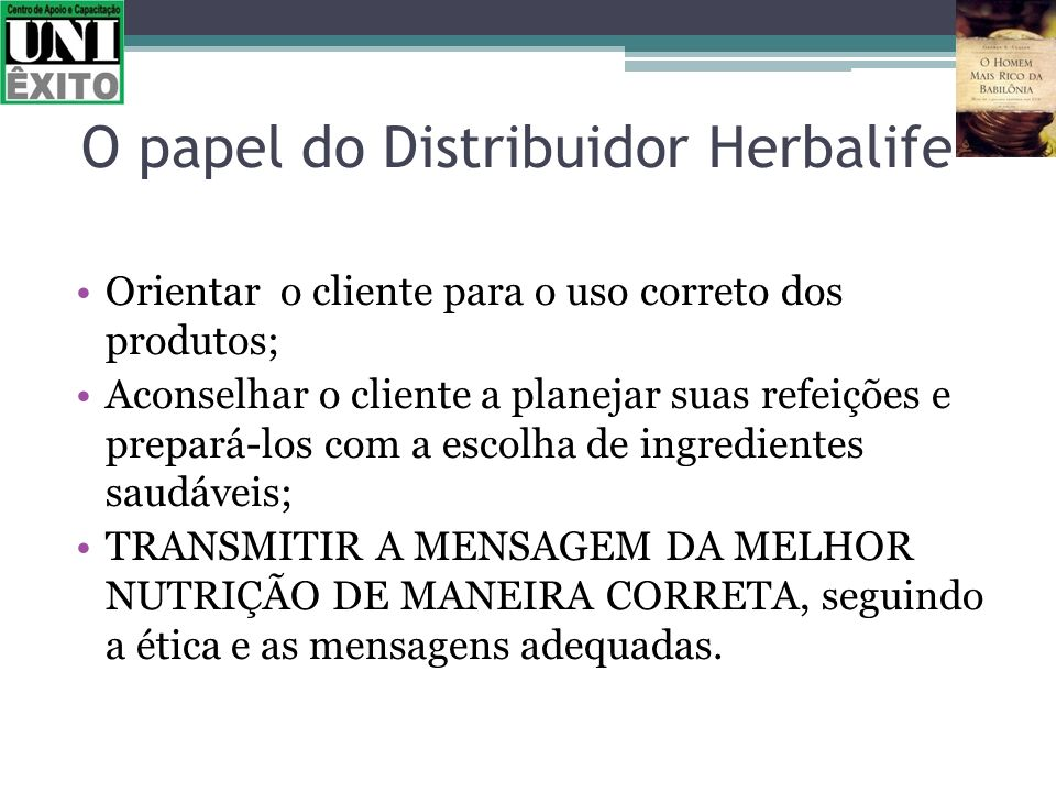 O papel do Distribuidor Herbalife